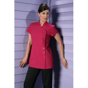 Beauty tunic, short sleeves, easy-care, fuschia