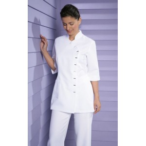 Beauty tunic, short sleeves, easy-care, white